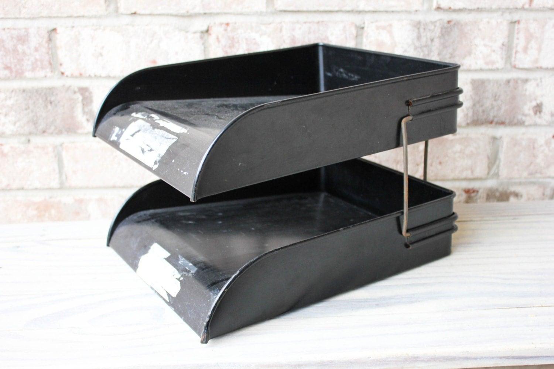 Vintage black metal wire desk organizer paper file - Wire desk organizer ...