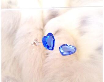 Vintage Gem New Crystal Swarovski Heart Earrings Silver Titanium Hypoallergenic Light Sapphire Blue Stud Post Minimalist Stud Ladies Jewelry