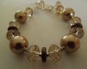 Champagne Crystal and Swarovski Pearl Sterling Silver Bracelet