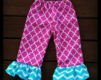 Girls Chevron Ruffle Pants