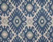 Indigo Blue and Grey Linen Ikat Upholstery Fabric by the Yard - Blue Ikat Curtain Material - Linen Ikat Pillows - Indigo Home Decor Yardage