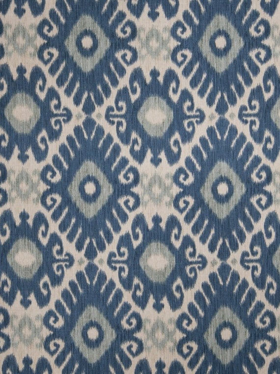 Indigo Blue and Grey Linen Ikat Upholstery Fabric by the Yard
