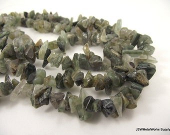 Green Hair Quartz Chip Beads, 5 - 10 mm, 16 inch strand, Whole strand