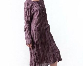 NO.133 Plum Cotton Bib Front Tunic, Long Blouse, Long Sleeves Dress, Dress, Day Dress