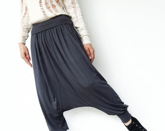 NO.74 Grey Rayon Spendex Harem, Yoga Pants, Casual Evening All Occasion Cropped Trousers