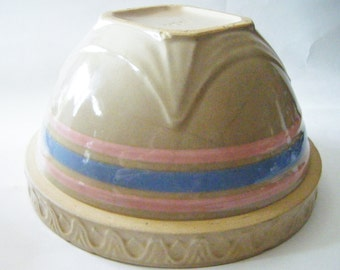 Antique Stoneware Mocha Yellow Ware Blue & Pink Banded Mixing Batter Bowl