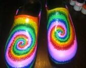 Hand Painted Dansko TIE DYE / Rainbow professional clogs Dansko Sanita nursing shoes EMAIL for sizes