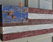 American flag rustic made of recycled wood with metal stars