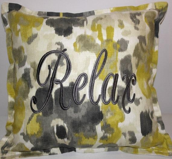 Embroidered Throw Pillow Cover  - 18 x 18 - Robert Allen's Landsmeer Citrine -Citrine & Slate Grey Linen-Cotton-Rayon- Flange Edge