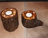 Hand Painted Rustic Wood Crystal Ball or Candle Holders