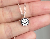 Tiny Sterling Silver SmileY Face Necklace - Handcrafted Silver Jewelry - Silver Earrings - Smile Jewelry