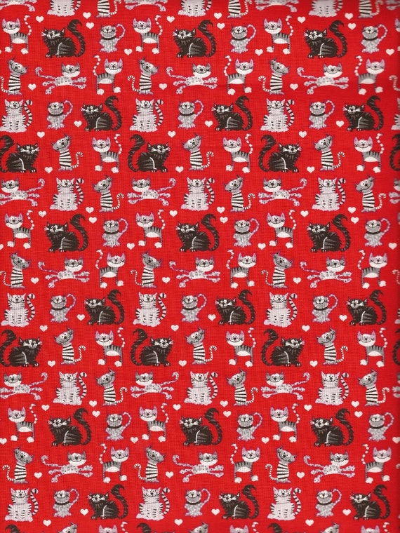 Cotton Fabric Red Cat Print Fabric By The Yard Quilt