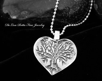 Recycled Silver Celtic Tree of Life Heart Pendant Necklace