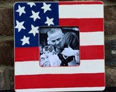 Wooden Patriotic Picture Frame - 4th of July - America - distressed frame - wood frame