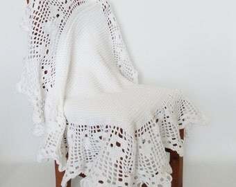 White Crochet Baby Blanket Afghan Christening Blanket, Heirloom, Crib Bedding, Baby Girl, Baby Boy, Crib Blanket, Nursery Decor