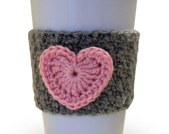 Crochet  Pink Heart Coffee Cup Cozy with Heather Gray