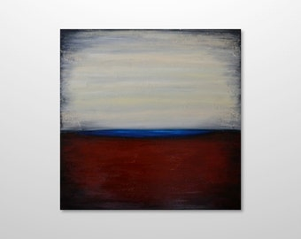 Large 30 x 30 Original Abstract Landscape Canvas Acrylic Painting Modern Contemporary - Burgundy Red Ivory Sky, Blue Horizon - FREE SHIPPING
