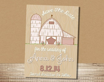 Barn Save The Date Barn / Rustic Farm - 5x7 Save the Date Card / Printable
