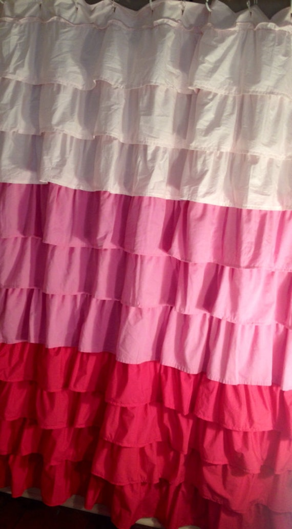 Items Similar To Tiered Pink Ombré Ruffle Shower Curtain On Etsy