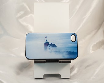 iPhone Case,Stand, Round Island Lighthouse Fog Design, Nautical, Historical, Photograph, Plastic cover