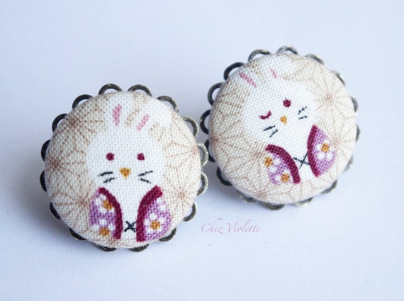 Bunny Earring Stud, Japanese Fabric earrings, Button studs, kawaii Stud, Beige Earrings Studs,  medium size