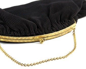 Vintage Couture Pleated Black Clutch Handbag