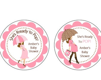 """Personalized 2.5"""" OR 2"""" Round Ready to Pop Baby Girl shower, new mommy pink & brown Baby Shower stickers, decorations, favors"""