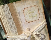 A4 Ivory, lace and burlap Wedding Guest Book