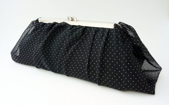 Polka Dot Clutch Purse - Vintage 1950's Style Handbag - Wedding/Bridesmaid Clutch - Crossbody/Shoulder Chain included
