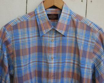 PASTEL PLAID Blue Orange Yellow White Striped Long Sleeve Button Down Casual Shirt
