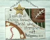 Sports Sign Athlete Baseball Football  Scripture Bible Verse Personalized Name Sport Motivation Handpainted MTO Athlete Teen Kids Room Decor