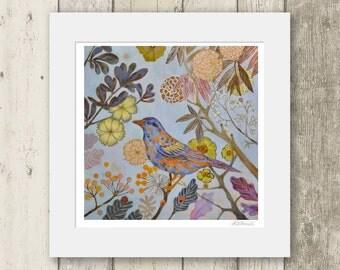 Blue bird print / AUTUMN BIRD / Signed & Mounted Giclée Fine Art Print