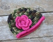 Baby crochet camo beanie with pink flower 12-18 months READY TO SHIP