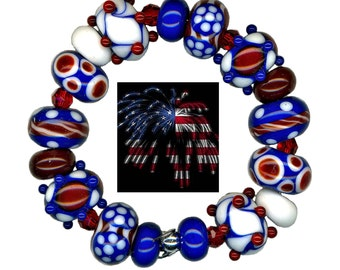 Handmade USA Lampwork Glass Beads Fourth Of July Red White and Blue Bead Set