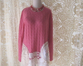 bohemian pink sweater tunic, shabby lace sweater, upcycled clothing, reconstructed clothes, boho chic, large to Xlarge