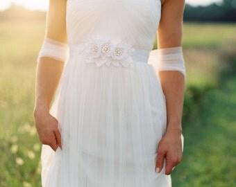 Flower Lace Dress Sash. Bridal Gown Flower Sash.