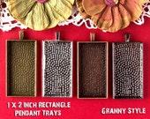 10- Large Rectangle Pendant Trays - 1x2 inch - Silver, Antique Bronze, Antique Copper, or Gumnetal - Blank Bezel Cabochon Setting