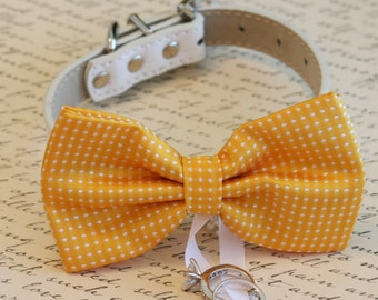 Yellow Dog Bow Tie, Dog ring bearer, Pet Wedding accessory, Pet lovers, Yellow bow attached to white dog collar, Summer wedding, Spring