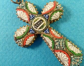 Vintage italian millefiori micro mosaic glass Murano cross  Roma collectible  jewelry crucifix  FV1