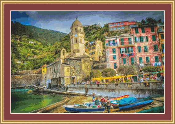Cinque Terre, Italy Cross Stitch Pattern /Digital PDF Files /Instant downloadable