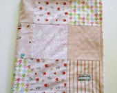 Minky Baby Girl Patchwork Quilt Blanket Simple Life Riley Blake Pink--Ready to Ship