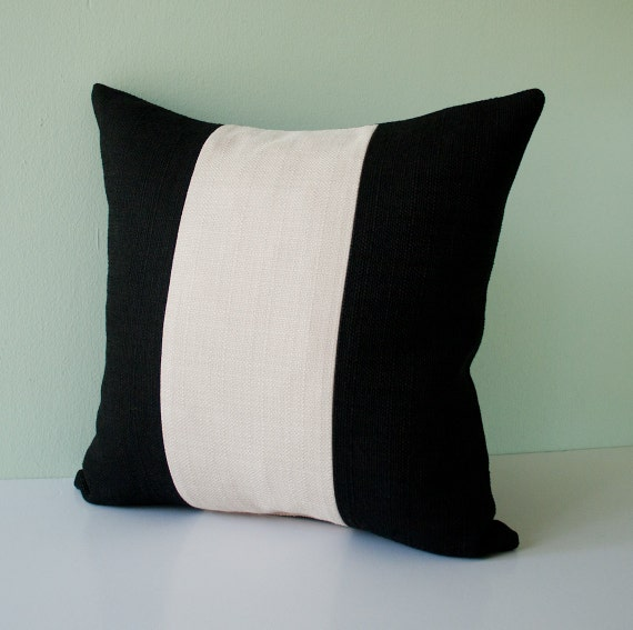 Items similar to Black and cream / beige stripes pillow cover / decorative throw pillow / pillow ...