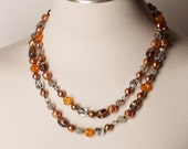 Vintage Earth Tones Double Strand Necklace
