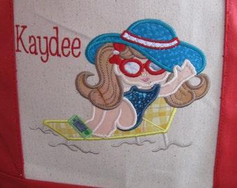 "Embroidered/Applique ""Beach Bebe Michelle"" Beach Canvas Bag"