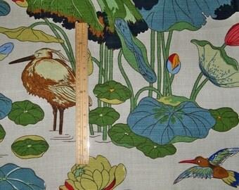 KRAVET Lee JOFA NYMPHEUS Birds Linen Toile Fabric 10 yards Stone Pistachio Multi