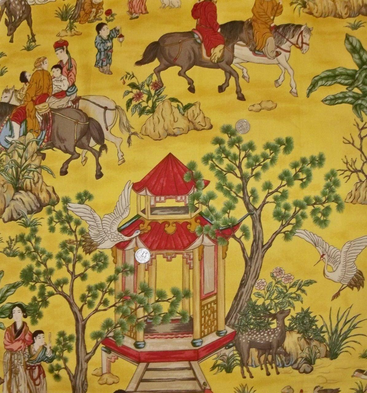 DESIGNER CHINOISERIE Asian TOILE Fabric 10 by elegantfabrics1