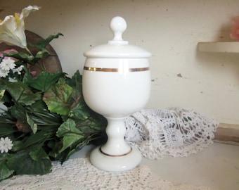 Vintage White or Milk Glass Lidded Jar with Gold Trim B883