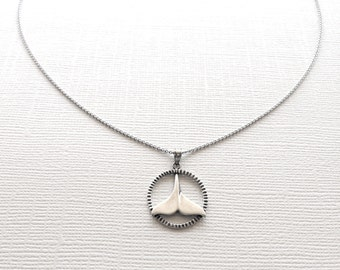 Dolphin Fin Necklace in Sterling Silver