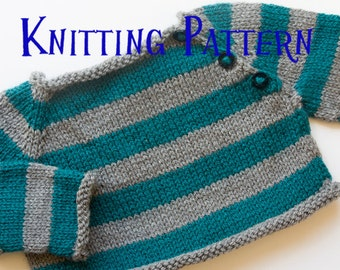 PDF Knitting Pattern - Stripes Pullover, Infant Sweater, Baby Toddler Knitting Pattern, Baby Button Up Pullover Pattern