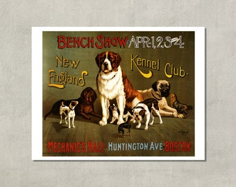 New England Kennel Club Dog Show, 1890 - 8.5x11 Poster Print - Also available in 11x14 and 13x19 - see listing for details